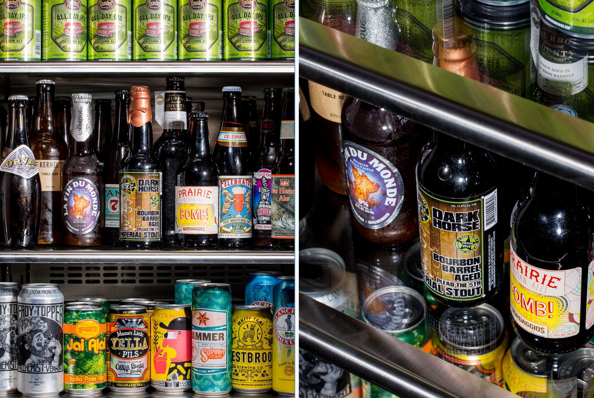 energy efficient pub refrigerator stocked with beer