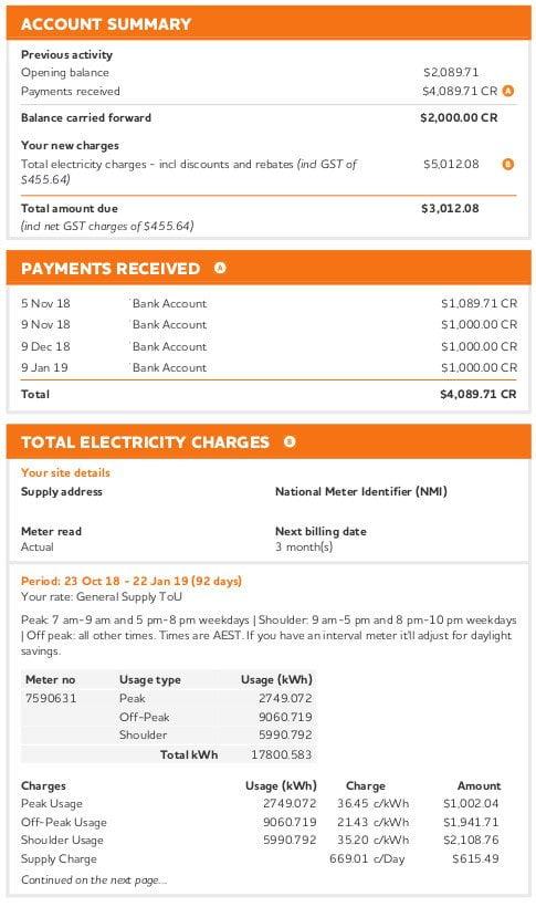 a sample bundled electricity invoice