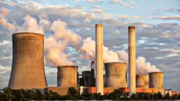 coal power station steem chimneys and cooling towers
